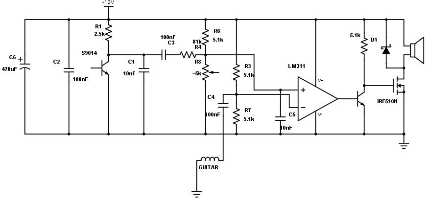 super simple class d guitar amp